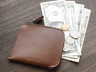 カードも小銭もお札も入る♪ 栃木レザー L型ウォレット 本革 財布 日本製 小さなお財布の画像