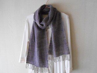手紡ぎ手織りマフラー メリノーウール グレー×紫の画像