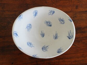 オーバル小皿(白/青)〈b〉の画像