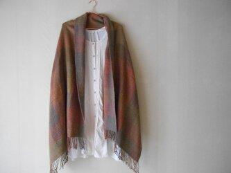 手紡ぎ手織りチェック柄ショール シルクキャメルの画像