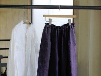 【秋NEW】手染め・ベルギーリネン100%タックスカート*濃紫の画像