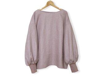 リネン100%ボリューム袖ボートネック長袖プルオーバー_smoky lavender pinkの画像