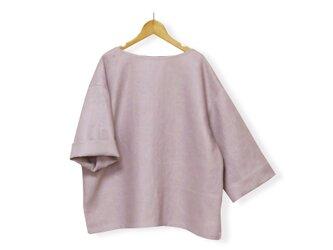 リネン100%ゆる袖ボートネック7分袖丈プルオーバー_smoky lavender pinkの画像