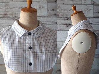 シャツ型角丸襟の付け襟(グラフチェック柄)の画像