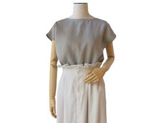 リネン100%シンプルフレンチ袖プルオーバー_greigeの画像
