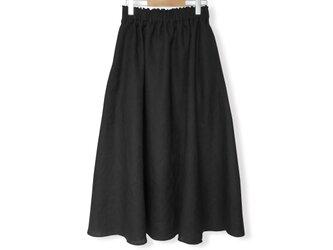 リネン100%ギャザーフレアロングスカート_Blackの画像