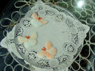 ガラス丸皿・蝶の画像