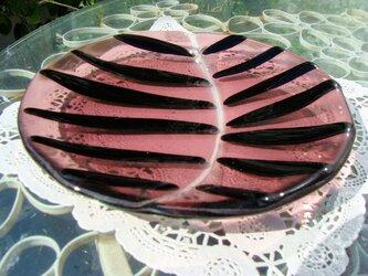 ガラス丸皿・リーフの画像