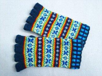 手紡ぎ毛糸の指なし手袋【濃いブルーグレーと黄系】の画像