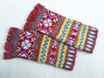 手紡ぎ毛糸の指なし手袋【海老茶、赤系】の画像