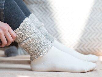 ガラ紡糸アーム&レッグウォーマー 杢グレー【Organic Cotton】の画像