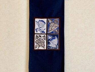 手描き手染めバティックのタペストリー/テーブルセンター〜インドネシアのろうけつ染〜の画像