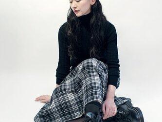 秋冬 ウール ブラック×オフホワイト タータンチェック ロングスカート ●EMMA●の画像