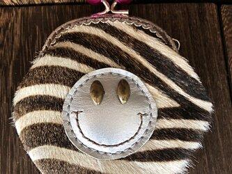 ニコちゃんがま口コインケース (ゼブラ ×赤玉)の画像