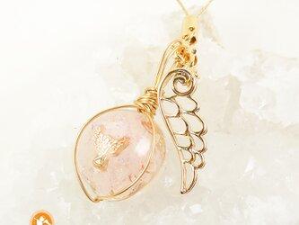 オルゴナイトペンダント ストラップ ローズクォーツ 天使の画像
