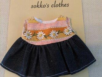 sokko's Dress オレンジチェックと白いお花柄+濃紺デニムの画像