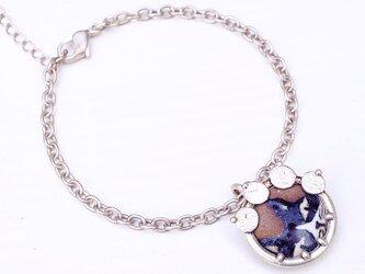 (Thank you,Sold!)アゲ猫(陶芸)×飾屋しろがね  絵付け陶ボタン チャームブレスレッドの画像
