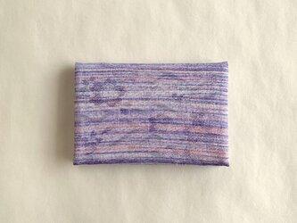 絹手染カード入れ(横・渋紫サーモンピンク)の画像
