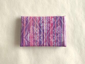 絹手染カード入れ(縦・濃ピンク紫系B)の画像