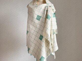 お絵描き 手織り大判ストール リーフグリーン コットンの画像