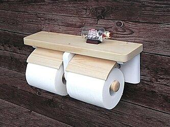 木製トイレットペーパーホルダー Ver.13(ナチュラル&ホワイト)の画像