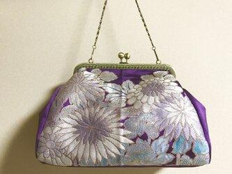 がまぐちバッグ・角型口金  紫地の菊柄帯地バッグの画像