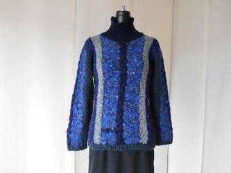 紺系の模様編みセーター(A)の画像