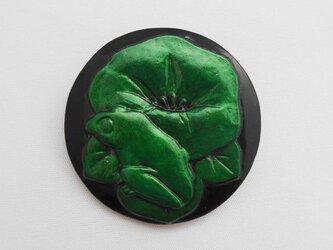 【彫刻】【漆】ブローチ 朝顔に蛙の画像