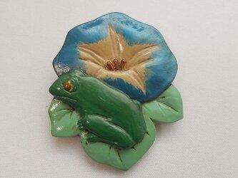 【彫刻】【漆】スカーフ留め 朝顔に蛙(くずし)の画像