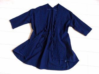 ◆100%自然素材 天然灰汁発酵建て 本藍染◆ カットワーク刺繍 コットンカーデの画像