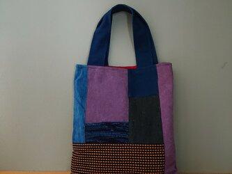 藍染め裂き織り・藍染め帆布と刺し子のミニバックの画像