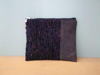 裂き織り・柿渋染め帆布(鉄媒染)ポーチの画像