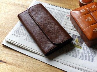 イタリア革の長財布/チョコレートの画像