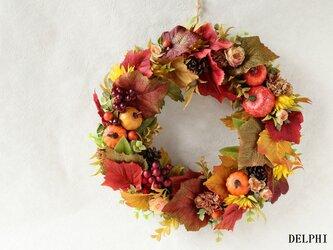 秋の実りと彩りのリースA【アーティフィシャルフラワー】秋リース 秋色リース オータムリース お祝い ハロウィンリースの画像