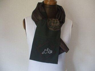 兎がポイントの銘仙2種のストール 絹の画像