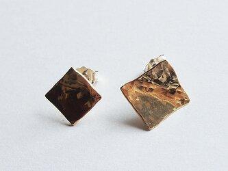 真鍮Brassピアス一点もの四角の画像