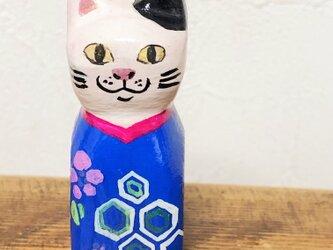 木彫り猫 アンティーク着物 青の画像