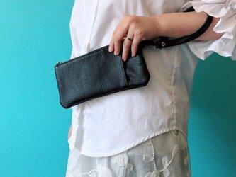 ミニ クラッチ & バッグinバッグ 本革 シュリンク ブラックの画像