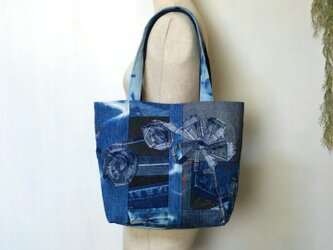 パッチワーク デニムバック コード刺繍 ~ ジーンズ リメイクの画像