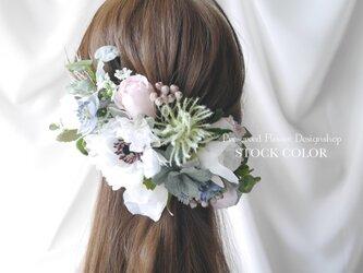 アネモネとローズのヘッドドレス/ヘアアクセサリー(ナチュラルピンク)*結婚式・成人式・ウェディングドレスにの画像