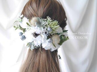 アネモネとローズのヘッドドレス/ヘアアクセサリー(ナチュラルホワイト)*結婚式・成人式・ウェディングドレスにの画像