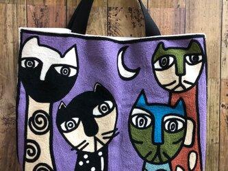 大きなトート 刺繍月夜の猫 受注製作の画像