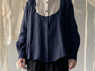 linen bosom shirt[French linen  navy]の画像
