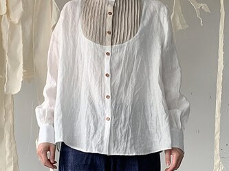 linen bosom shirt[French linen  off-white]の画像