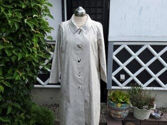 着物リメイク ハンドメイド 白大島 コートドレスの画像