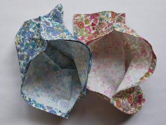 袋ハンカチ 花柄 2枚組 の画像