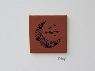 ハロウィンのファブリックパネル M-402◆レンガ/黒の画像