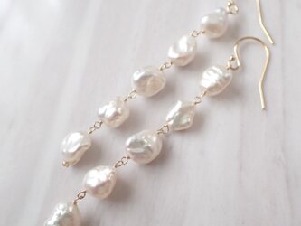 K14GF keshi water pearl long pierceの画像