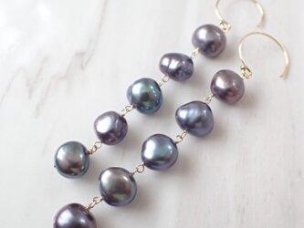 K14GF black water pearl long pierceの画像