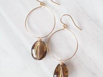 K14GF whiskey quartz dew drop hoop pierceの画像